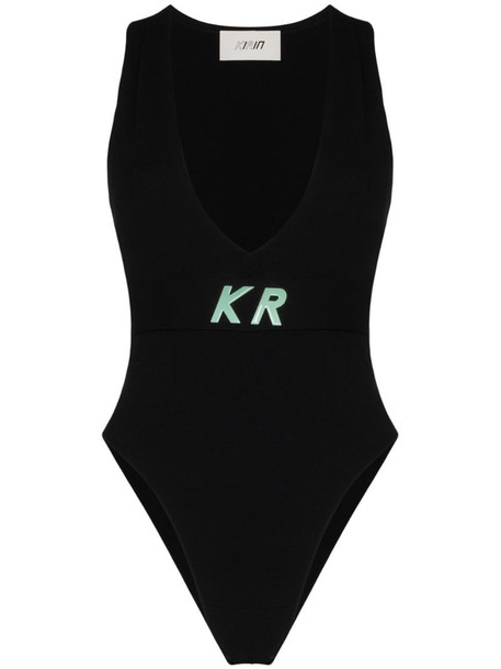 Kirin logo detail knit bodysuit in black