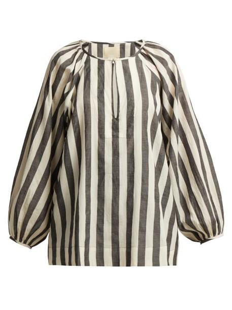 Anaak - Striped Keyhole Yoke Cotton Blouse - Womens - Grey White