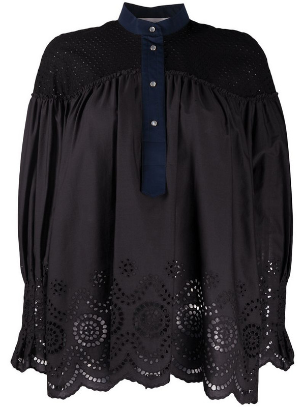 Cédric Charlier cut-out panelled blouse in black