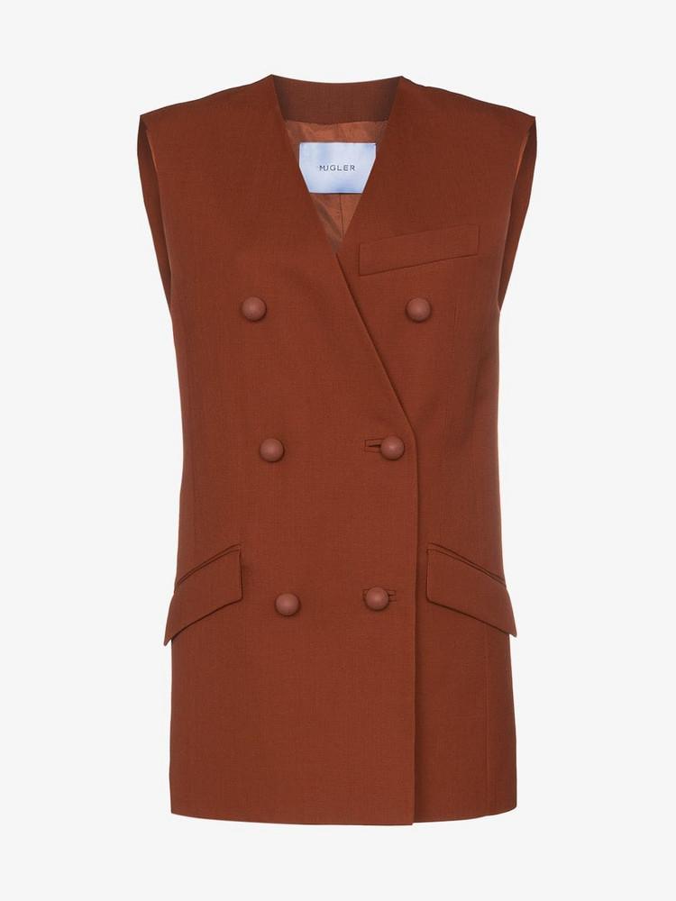 Mugler Double-breasted sleeveless wool blend blazer jacket in orange