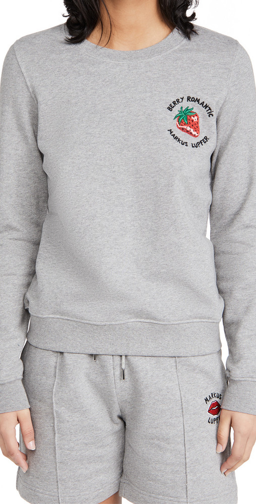 Markus Lupfer Leonie Embroidered Berry Romantic Sweatshirt in grey