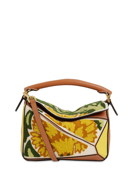 LOEWE Mini Puzzle Floral Leather Bag in yellow