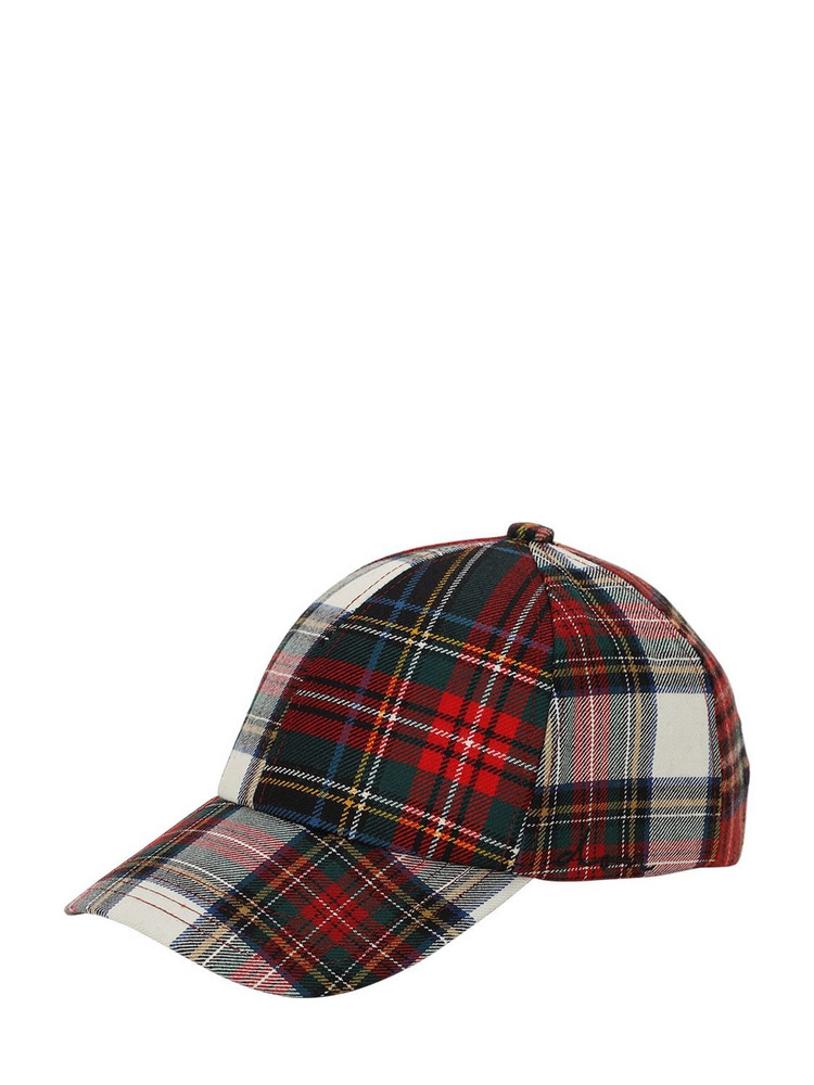 DON Wool Tartan Coated Canvas Baseball Hat in red