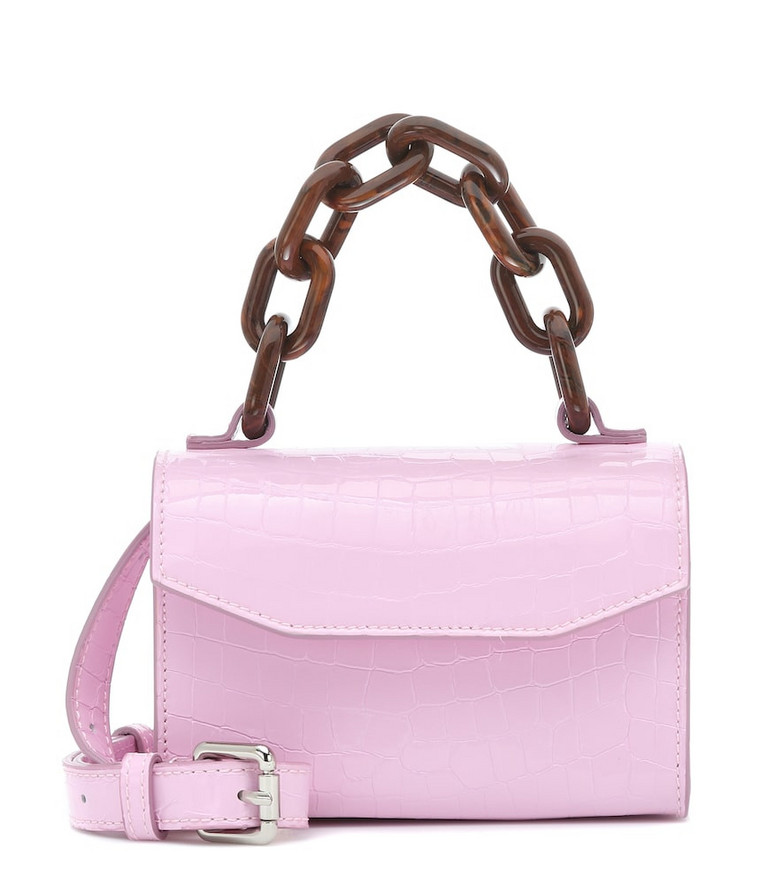 Ganni Belly croc-effect leather shoulder bag in pink