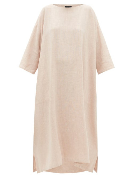 Eskandar - Boat-neck Linen-blend Midi Dress - Womens - Pink