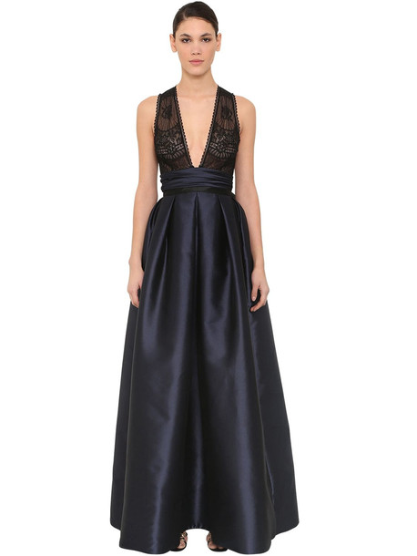 ZUHAIR MURAD Long Lace & Silk Satin Dress in navy
