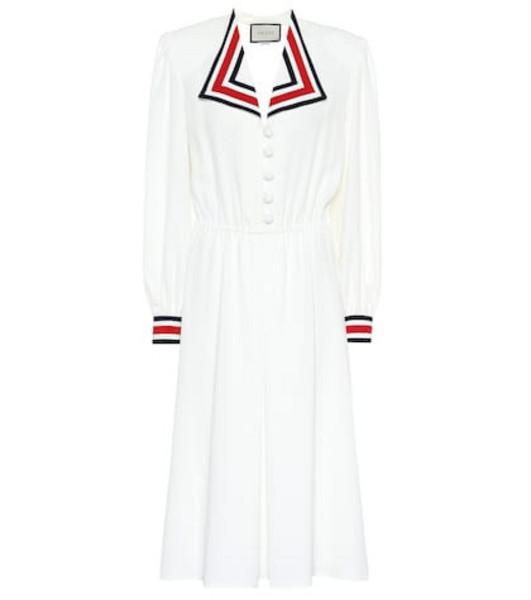 Gucci Silk-blend midi dress in white
