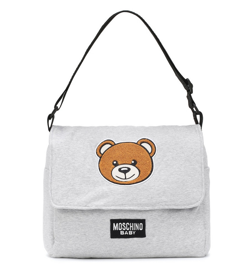 Moschino Kids Cotton-jersey changing bag in grey