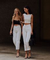 jeans,white jeans,high waisted jeans,black sandals,white top,black bag