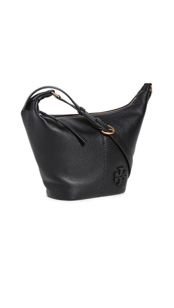 Tory Burch Mcgraw Small Zip Bucket Bag in black