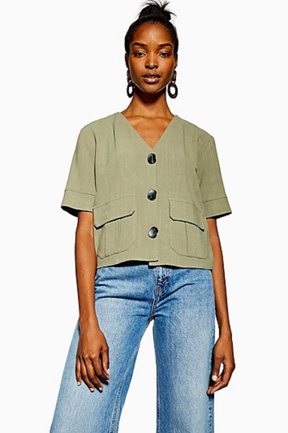 Topshop Khaki Button Down Top With Linen - Khaki