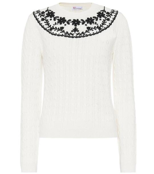 REDValentino Embroidered sweater in white