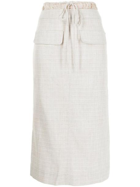 Rejina Pyo drawstring waist straight skirt in brown
