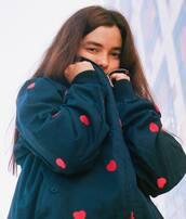 sweater,blue sweater,heart sweater