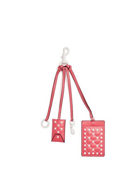 Valentino - Free Rockstud Leather Cardholder Key Ring - Womens - Pink White