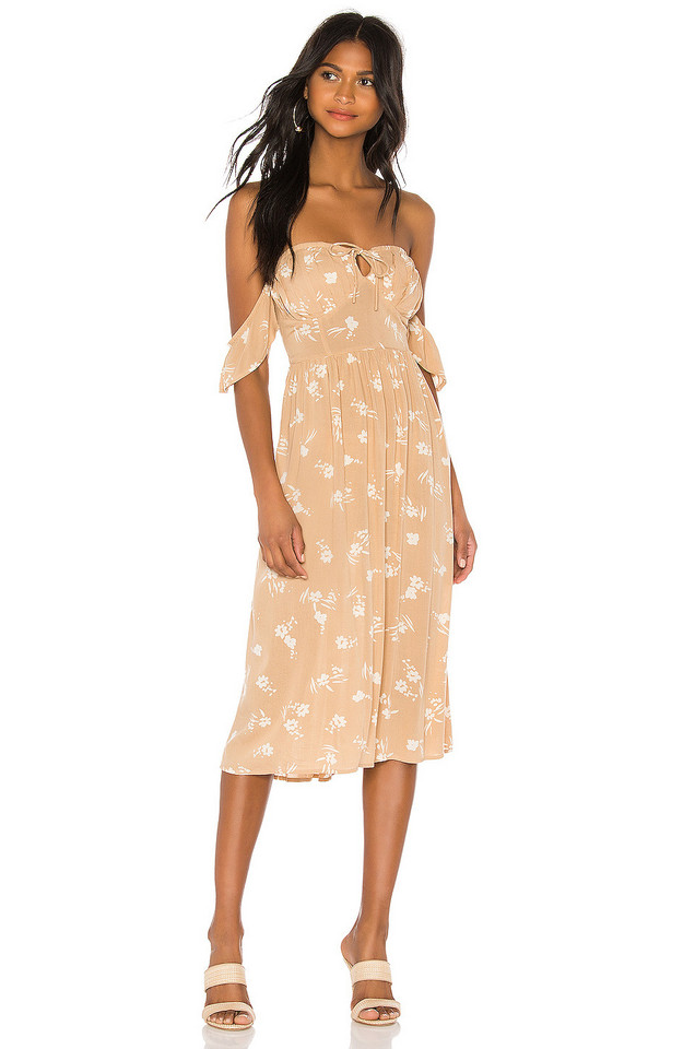 AMUSE SOCIETY Regency Midi Dress in tan