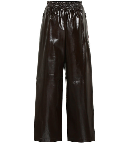 Bottega Veneta High-rise wide-leg leather pants in brown
