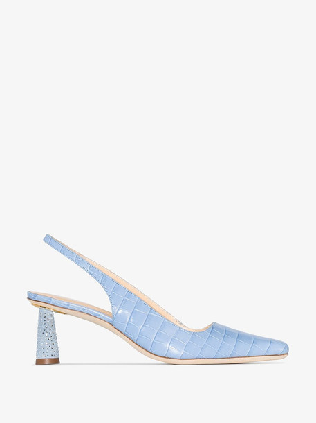 BY FAR blue Diana 55 croc-embossed leather pumps