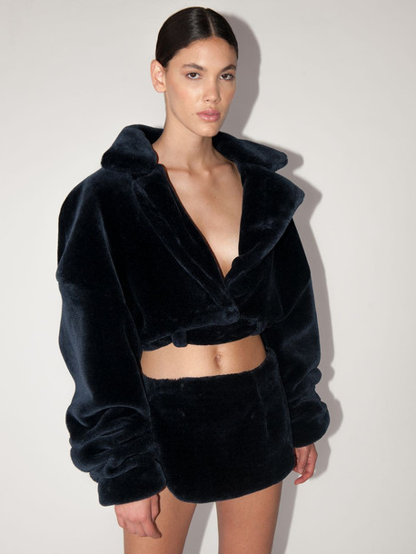 LAQUAN SMITH Faux Fur Teddy Jacket in blue