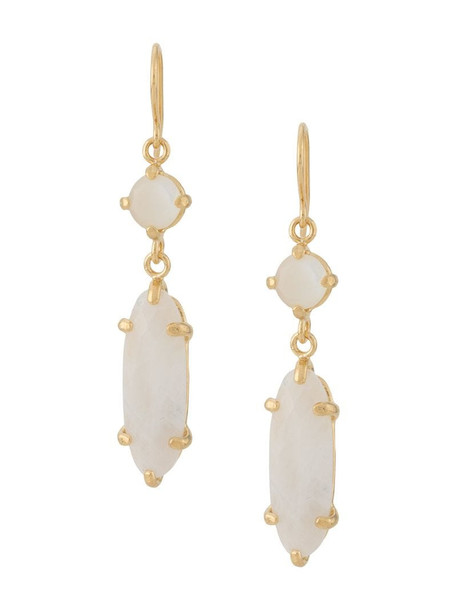 Wouters & Hendrix I Play mother of pearl moonstone earrings in gold