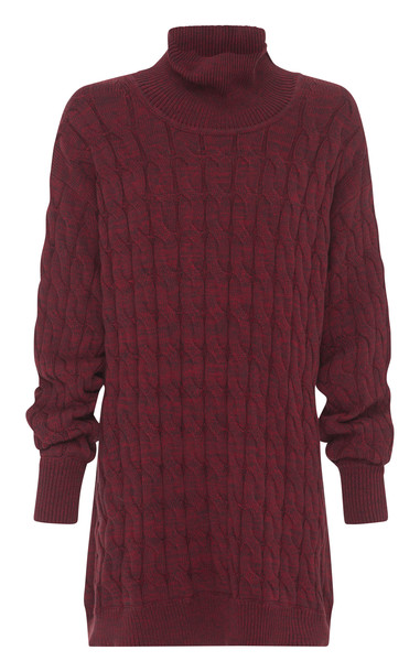 Anna Quan Dante Cable-Knit Sweater in red