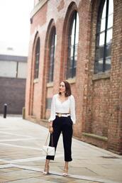 preppy fashionist,blogger,top,belt,pants,shoes,bag,high heel sandals,ysl bag