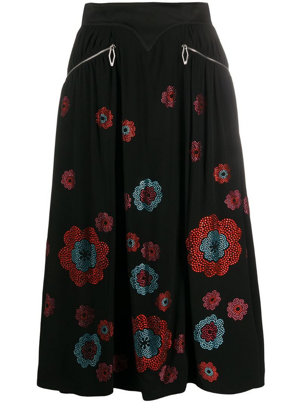 Paco Rabanne crystal floral print skirt in black