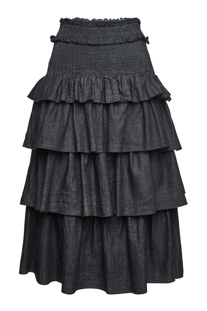 See by Chloé Tiered Skirt with Smocked Waist  in blue