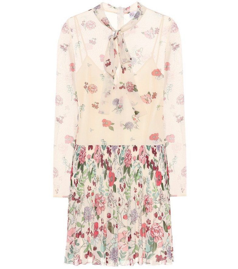 REDValentino Pleated floral minidress in white