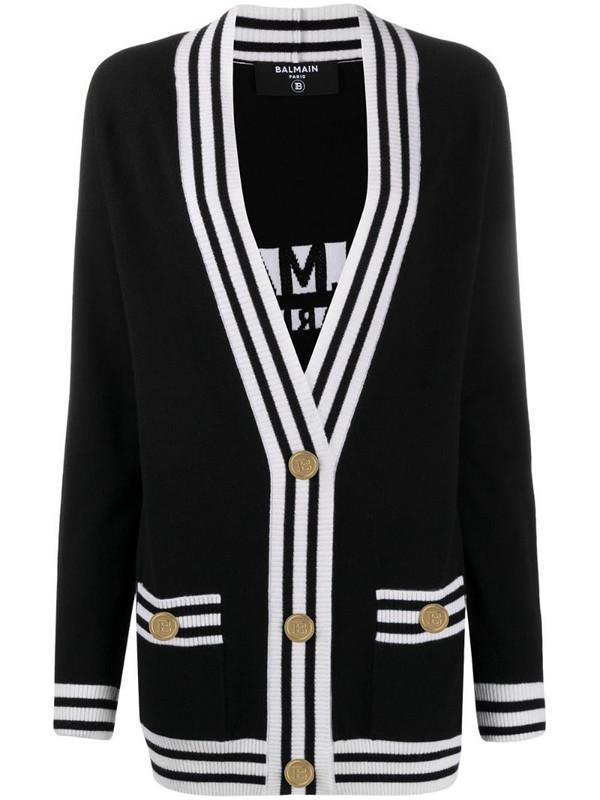 Balmain stripe-trim longline cardigan in black
