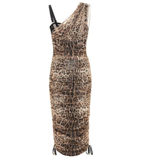 Dolce & Gabbana Leopard cotton and silk dress in brown