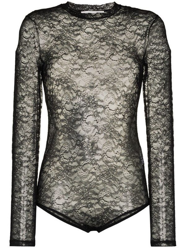 Valentino lace long-sleeve bodysuit in black