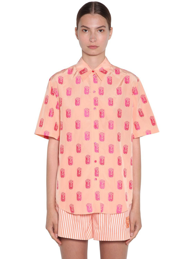 KENZO Viscose Jacquard Shirt in orange / pink