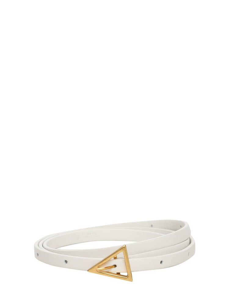 BOTTEGA VENETA 80mm Leather Belt in gold / white