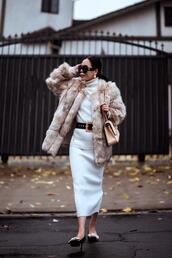 hallie daily,blogger,coat,sweater,skirt,belt,bag,shoes,sunglasses,jewels,winter outfits,faux fur jacket,chanel bag,knitted skirt