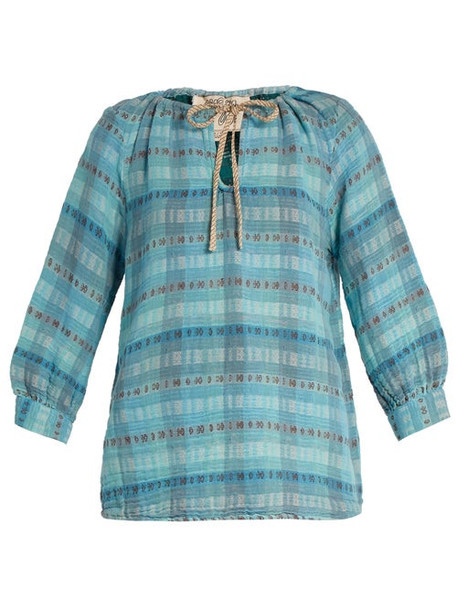 Ace & Jig - Rosa Checked Cotton Blend Top - Womens - Light Blue