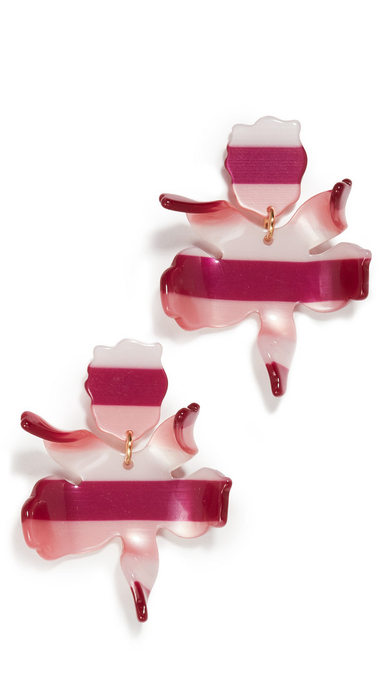 Lele Sadoughi Small Paper Lily Earrings in burgundy