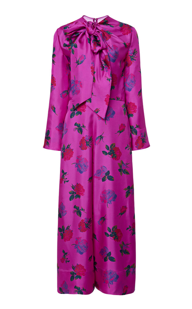 Valentino Pussy-Bow Floral Silk Jumpsuit in purple