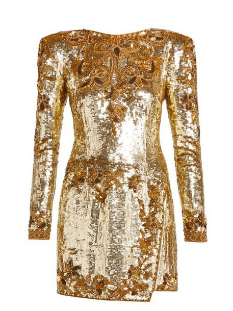 Dundas - Sequinned Silk Mini Dress - Womens - Gold