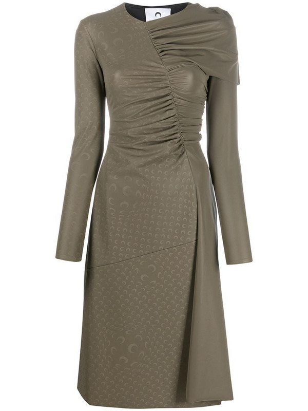 Marine Serre ruched-detailing long-sleeve dress in grey