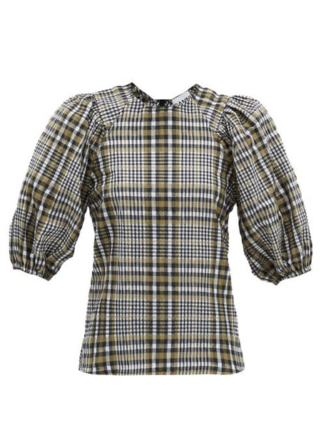 Ganni - Checked Cotton-blend Seersucker Blouse - Womens - Grey Multi