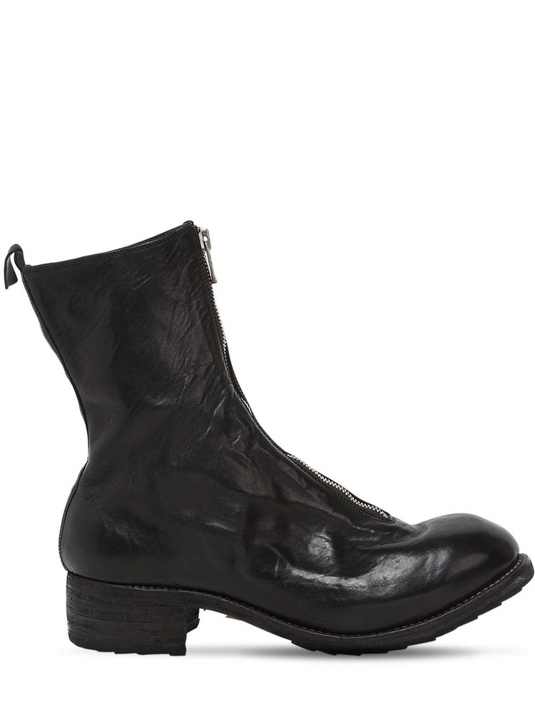 GUIDI 40mm Zip-up Full Grain Leather Boots in black
