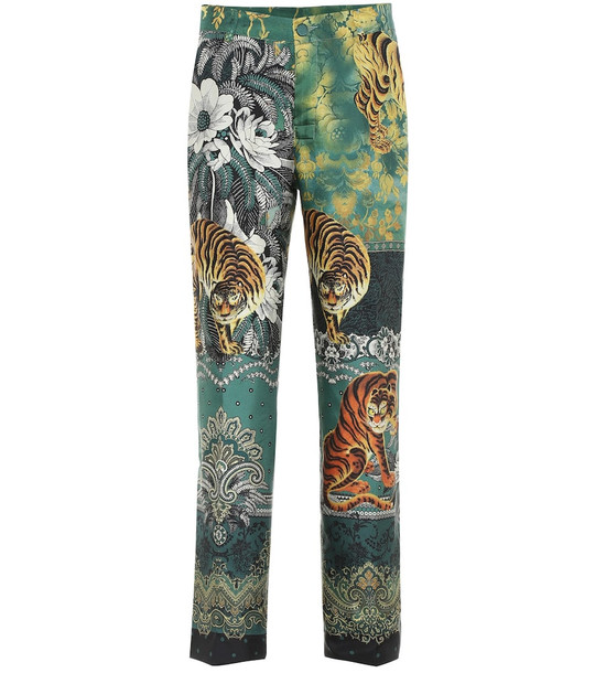 F.R.S For Restless Sleepers Tartaro printed silk straight pants in green