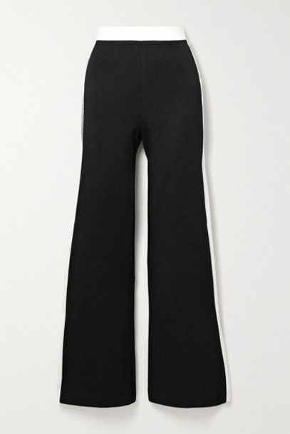 STAUD - Milo Striped Stretch-ponte Flared Pants - Black
