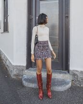 skirt,mini skirt,knee high boots,red boots,white turtleneck top,shoulder bag
