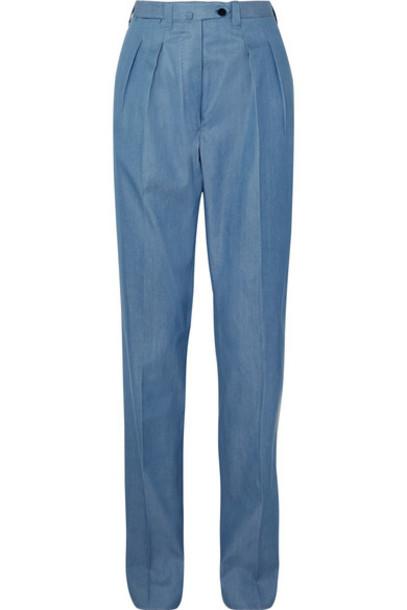 Giuliva Heritage Collection - Husband Cotton-chambray Straight-leg Pants - Blue
