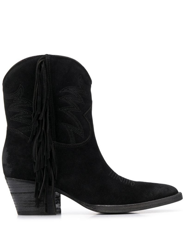 Ash fringed Texan boots in black