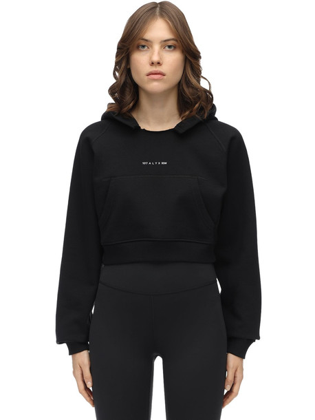 1017 ALYX 9SM Cropped Logo Cotton Jersey Hoodie in black