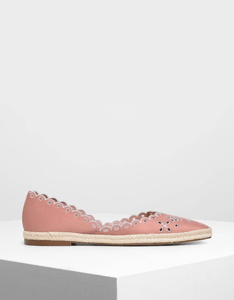 Scalloped Espadrille Covered Flats in pink
