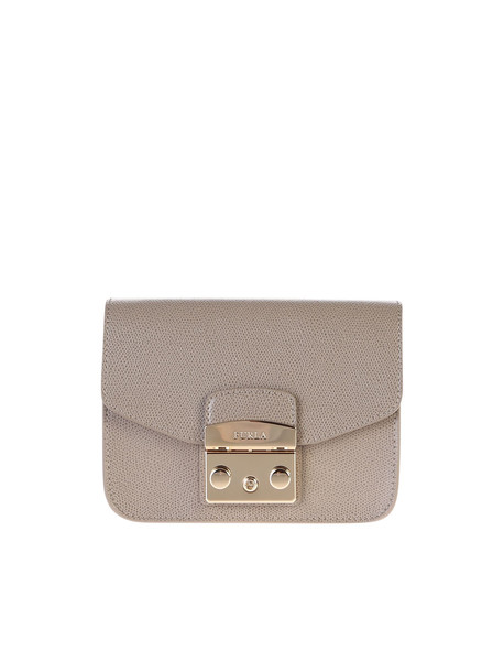 Furla Metropolis Mini Leather Crossbody Bag in beige